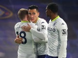 Anwar El Ghazi celebrates scoring for Aston Villa against Chelsea in the Premier League on December 28, 2020