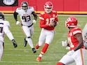 Kansas City Chiefs quarterback Patrick Mahomes in action against the Atlanta Falcons on December 27, 2020