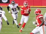 Kansas City Chiefs quarterback Patrick Mahomes in action against the Atlanta Falcons on December 27, 2020