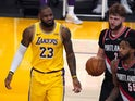 LA Lakers' LeBron James reacts against the Portland Trail Blazers on December 29, 2020