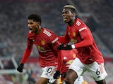 Marcus Rashford celebrates scoring for Manchester United against Wolverhampton Wanderers in the Premier League on December 29, 2020