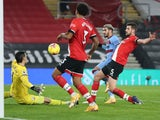 Southampton's Alex McCarthy saves from West Ham United's Said Benrahma in the Premier League on December 29, 2020