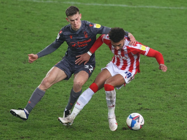 Stoke City's Jacob Brown in action with Nottingham Forest's Ryan Yates in the Championship on December 29, 2020
