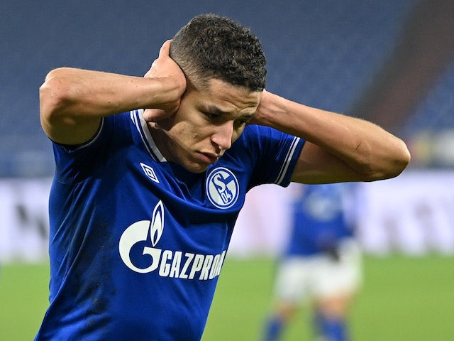 Schalke 04's Amine Harit celebrates scoring their fourth goal on January 9, 2021