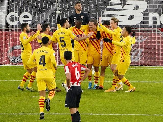 Barcelona's Pedri celebrates scoring against Athletic Bilbao in La Liga on January 6, 2021