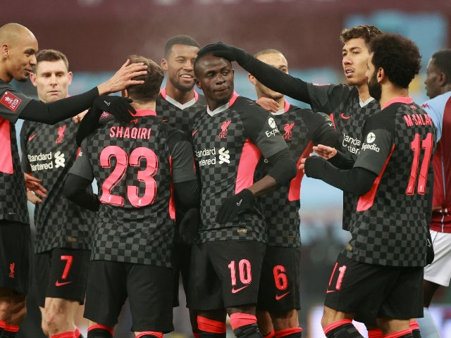 Sadio Mane celebrates scoring for Liverpool against Aston Villa in the FA Cup on January 8, 2021