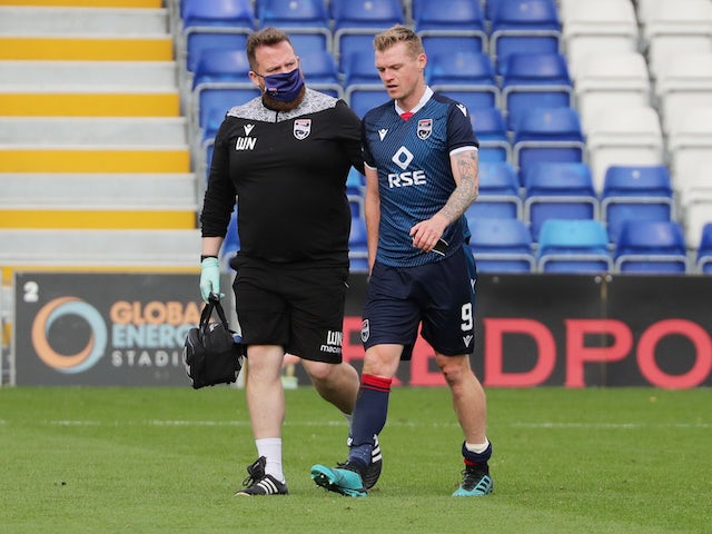Ross County's Billy Mckay after sustaining an injury in September 2020