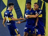 Boca Juniors' Sebastian Villa celebrates scoring their second goal with teammates on January 2, 2021