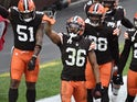Cleveland Browns cornerback M.J. Stewart celebrates an interception during the second half against the Pittsburgh Steelers on January 3, 2021