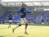Everton's Cenk Tosun celebrates scoring a goal that is later disallowed in the FA Cup third round on January 9, 2021