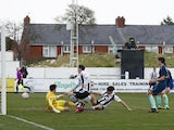 Chorley's Mike Calveley scores their second goal against Derby County in the FA Cup third round on January 9, 2021