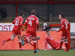 Crawley Town's Jordan Tunnicliffe celebrates scoring against Leeds United in the FA Cup on January 10, 2021