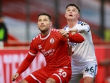Crawley Town's Mark Wright in action with Leeds United's Jamie Shackleton in the FA Cup on January 10, 2021