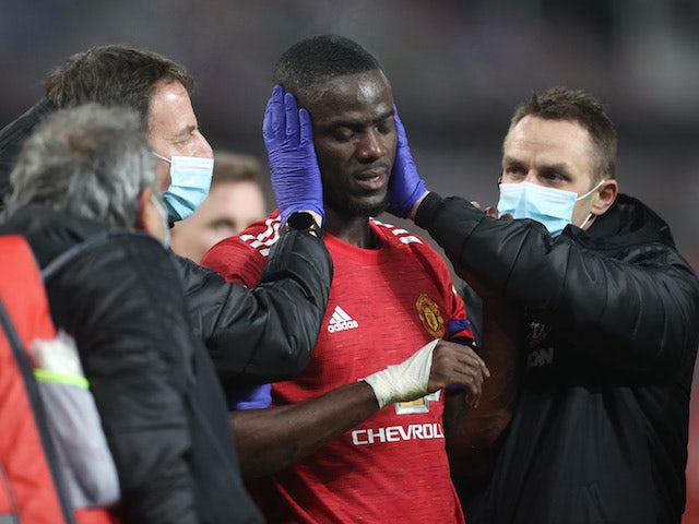 Manchester United defender Eric Bailly suffers an injury during the FA Cup tie with Watford on January 9, 2021
