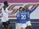 Everton's Abdoulaye Doucoure celebrates scoring their second goal with teammates in the FA Cup third round on January 9, 2021