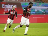 AC Milan's Franck Kessie celebrates scoring their second goal on January 9, 2021