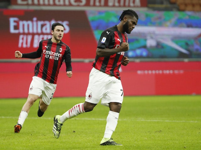 AC Milan's Franck Kessie celebrates scoring their second goal on January 9, 2021