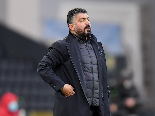 Napoli manager Gennaro Gattuso pictured on January 10, 2021