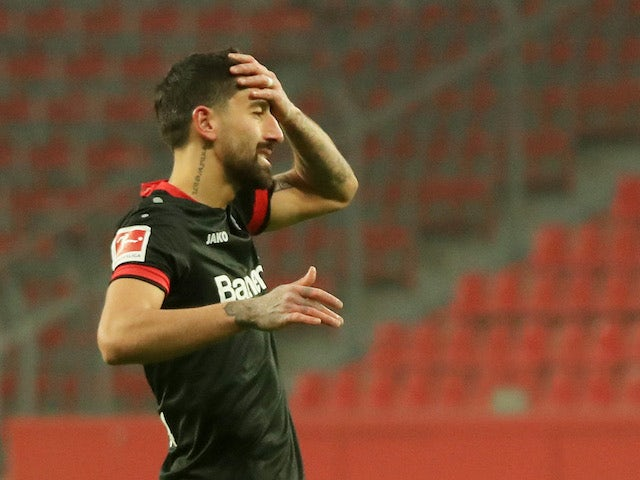 Bayer Leverkusen's Kerem Demirbay reacts on January 9, 2021