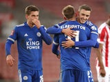 Leicester City's Marc Albrighton celebrates scoring their second goal with Timothy Castagne and Dennis Praet on January 9, 2021