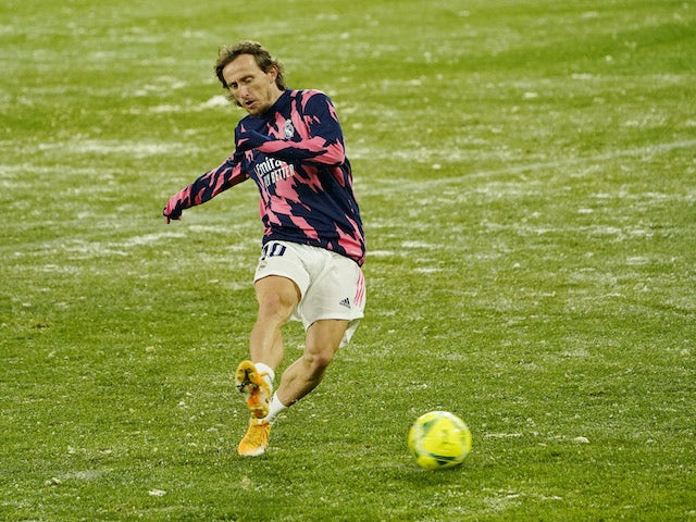 Real Madrid's Luka Modric during the warm up before the match on January 9, 2021