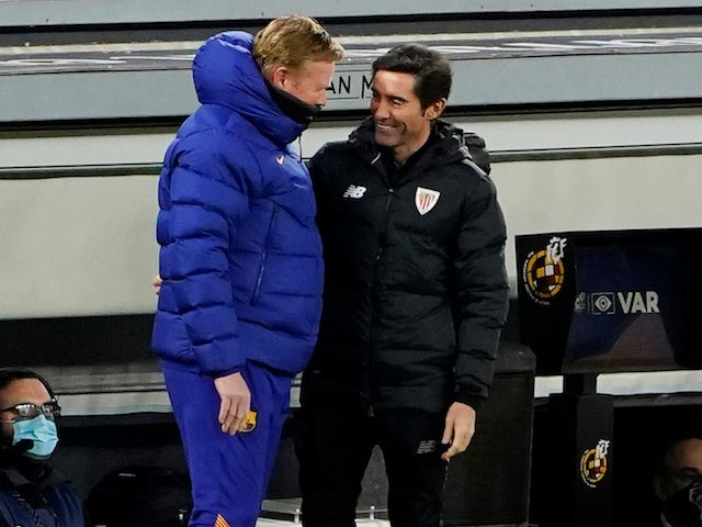 Athletic Bilbao head coach Marcelino pictured alongside Barcelona's Ronald Koeman in January 2021