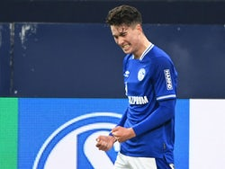 Schalke 04's Matthew Hoppe celebrates scoring their first goal against Hoffenheim on January 9, 2021