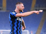 Inter Milan's Milan Skriniar celebrates scoring their first goal on January 10, 2021