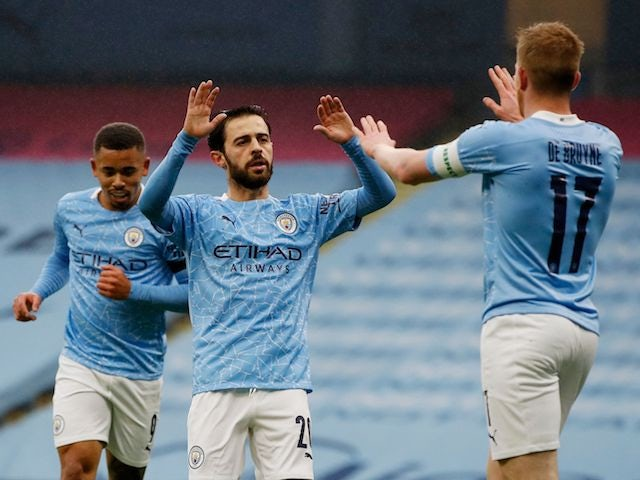 Manchester City's Bernardo Silva celebrates scoring against Birmingham City in the FA Cup on January 10, 2021