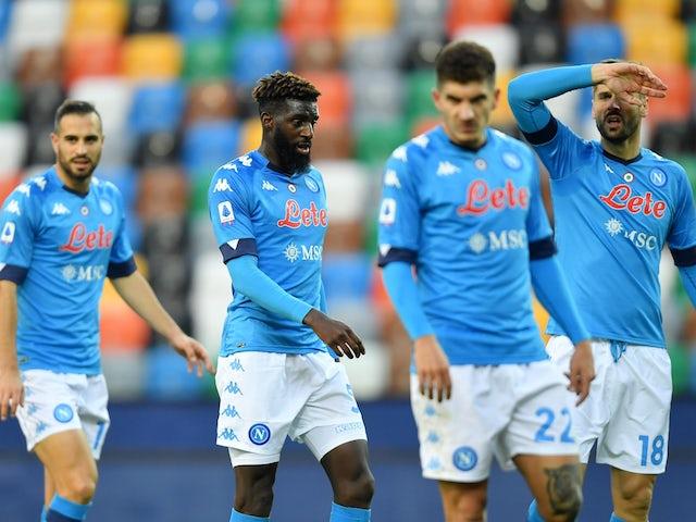 Napoli players including Tiemoue Bakayoko pictured on January 10, 2021