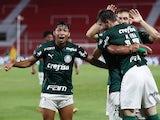 Palmeiras' Matias Vina celebrates scoring their third goal with teammates on January 6, 2021