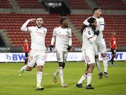 Lyon's Jason Denayer celebrates with teammates after scoring against Rennes on January 9, 2021