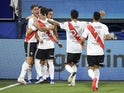 River Plate players celebrate scoring against Boca Juniors on January 3, 2021