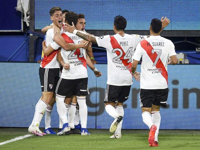 River Plate players celebrate scoring against Boca Juniors on January 3, 2021