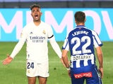 Real Madrid's Mariano Diaz in action against Alaves in La Liga on November 28, 2020