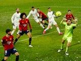 Osasuna goalkeeper Sergio Herrera in action against Real Madrid on January 9, 2021