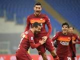 Roma's Lorenzo Pellegrini celebrates scoring their first goal with teammates against Inter Milan on January 10, 2021