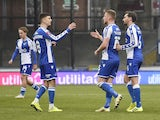 Bristol Rovers' Alfie Kilgour celebrates scoring their first goal with teammates on January 9, 2021