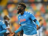 Napoli midfielder Tiemoue Bakayoko celebrates scoring on January 10, 2021