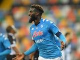 Napoli midfielder Tiemoue Bakayoko celebrates scoring on January 10, 2021