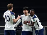 Tottenham Hotspur's Son Heung-min celebrates scoring against Brentford in the EFL Cup on January 5, 2021