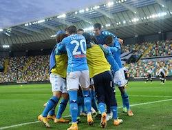 Napoli players celebrate scoring against Udinese on January 10, 2021