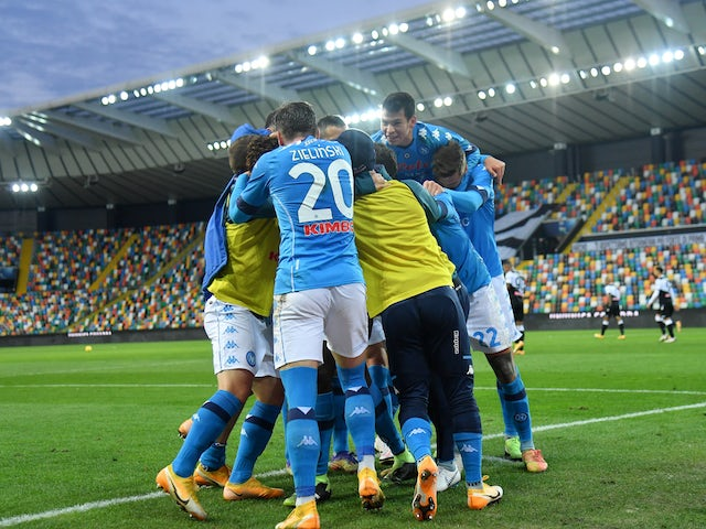 Napoli players celebrate scoring against Udinese on January 10, 2021