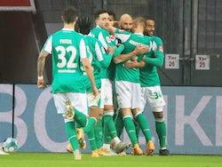 Werder Bremen's Omer Toprak celebrates scoring their first goal with teammates on January 9, 2021