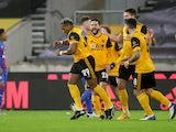 Adama Traore celebrates scoring for Wolverhampton Wanderers against Crystal Palace in the FA Cup on January 8, 2021