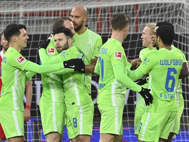 Wolfsburg's Renato Steffen celebrates scoring their first goal with teammates against Union Berlin on January 9, 2021