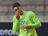 Wolfsburg's Wout Weghorst celebrates scoring their second goal on January 9, 2021