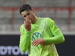 Wolfsburg's Wout Weghorst celebrates scoring their second goal on January 9, 2021