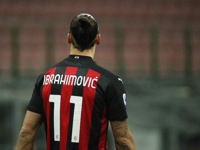 AC Milan striker Zlatan Ibrahimovic pictured on January 9, 2021