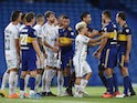 Santos and Boca Juniors players clash during half time of their Copa Libertadores semi-final in January 2021